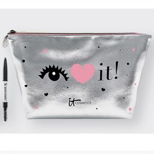 Eye Heart It Silver Metallic Makeup Bag